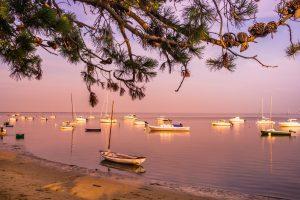 Soirée sur l'eau bassin d'arcachon coucher de soleil